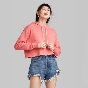 Super Soft Long Sleeve Cropped Coral Hoodie
